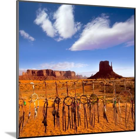 Dreamcatcher Monument West Mitten Butte Morning With Navajo Indian Crafts Utah-holbox-Mounted Art Print