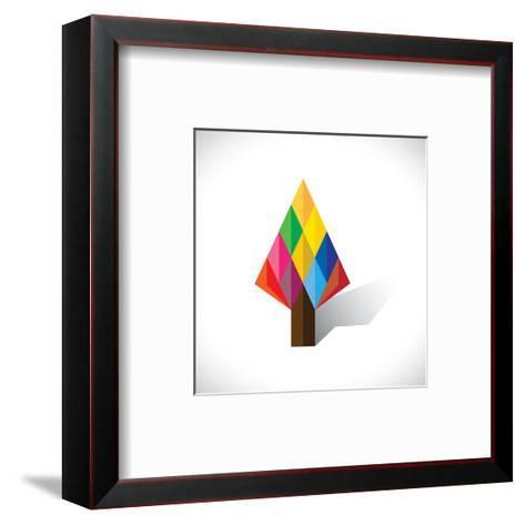 Colorful Abstract Tree Icon(Sign) Made Of Diamond Shapes-smarnad-Framed Art Print