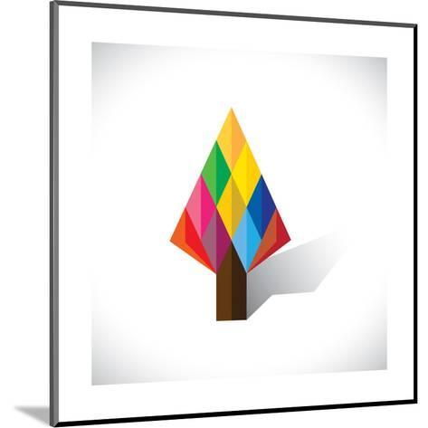 Colorful Abstract Tree Icon(Sign) Made Of Diamond Shapes-smarnad-Mounted Art Print