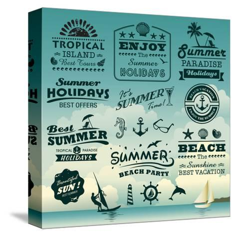 Vintage Summer Typography Design With Labels, Icons Elements Collection-Catherinecml-Stretched Canvas Print