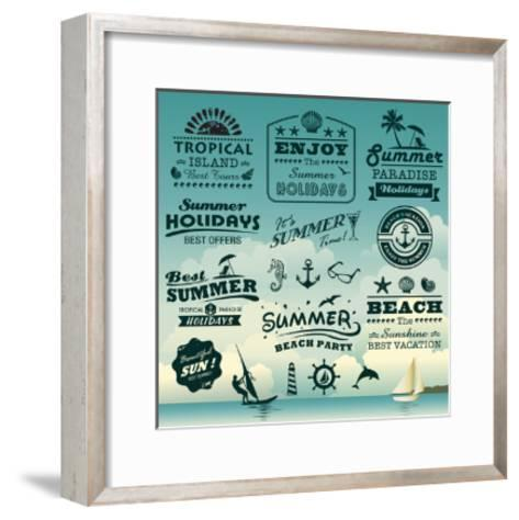 Vintage Summer Typography Design With Labels, Icons Elements Collection-Catherinecml-Framed Art Print