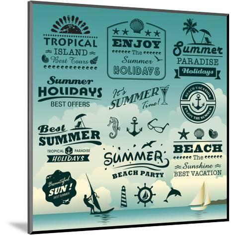 Vintage Summer Typography Design With Labels, Icons Elements Collection-Catherinecml-Mounted Art Print