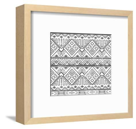 Abstract Geometric Seamless Aztec Pattern. Ikat Style Pattern-cherry blossom girl-Framed Art Print