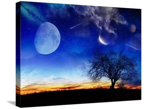 From Earth Looking Out Into The A Surreal Night Starry Sky-Vicki France-Stretched Canvas Print