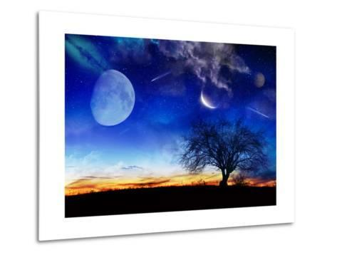 From Earth Looking Out Into The A Surreal Night Starry Sky-Vicki France-Metal Print