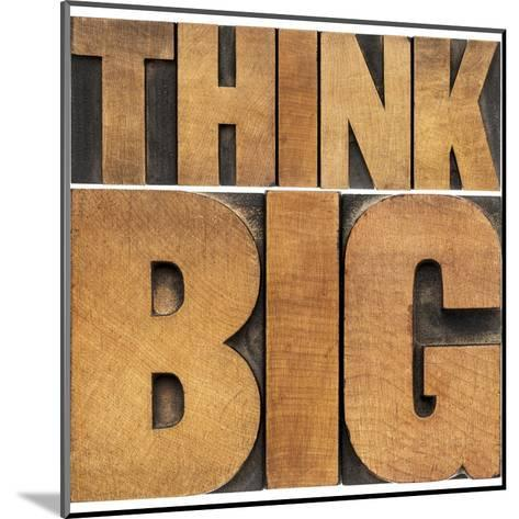 Think Big Motivational Phrase - Isolated Text Abstract - Letterpress Wood Type Printing Blocks-PixelsAway-Mounted Art Print