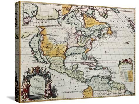 North America Old Map. Created By Louis Hennepin, Published In Amsterdam, 1698-marzolino-Stretched Canvas Print
