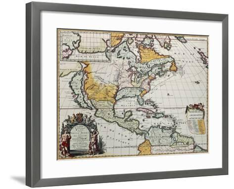 North America Old Map. Created By Louis Hennepin, Published In Amsterdam, 1698-marzolino-Framed Art Print