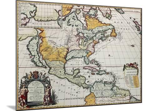 North America Old Map. Created By Louis Hennepin, Published In Amsterdam, 1698-marzolino-Mounted Art Print