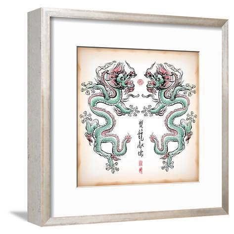 Chinese Ink Painting Of Dragon Translation: Blessing Of Double Dragons-yienkeat-Framed Art Print