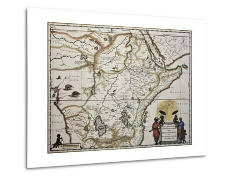 Ethiopia Old Map. Created By Joan Blaeu, Published In Amsterdam 1650-marzolino-Metal Print