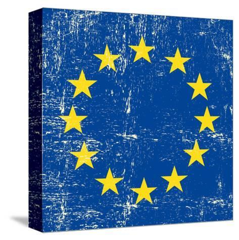 European Grunge Flag. A Square Flag Of European Union With A Texture-TINTIN75-Stretched Canvas Print