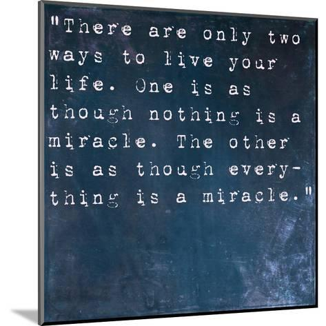 Inspirational Quote By Albert Einstein On Earthy Blue Background-nagib-Mounted Art Print