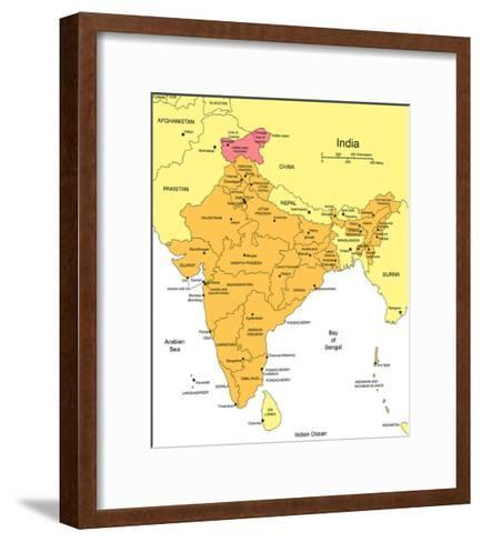 India With Administrative Districts And Surrounding Countries-Bruce Jones-Framed Art Print