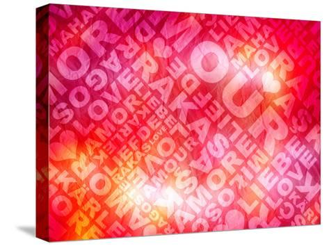 Love Valentine'S Day Typographic Texture In Several Languages- Aelice-Stretched Canvas Print