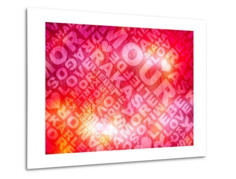 Love Valentine'S Day Typographic Texture In Several Languages- Aelice-Metal Print