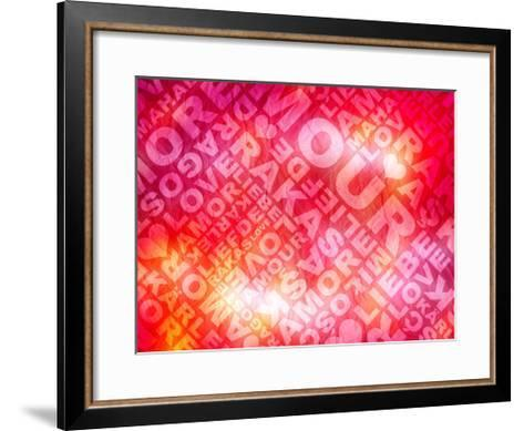 Love Valentine'S Day Typographic Texture In Several Languages- Aelice-Framed Art Print