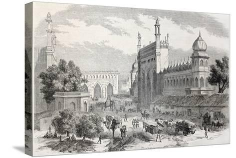 Old Illustration Of Main Street In Lucknow, India-marzolino-Stretched Canvas Print