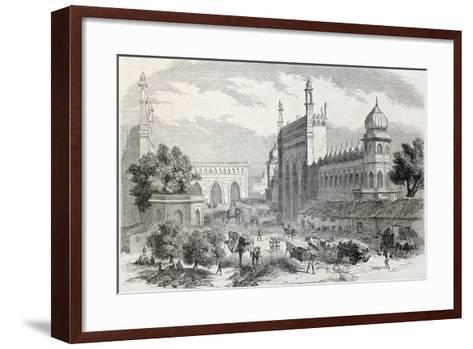 Old Illustration Of Main Street In Lucknow, India-marzolino-Framed Art Print