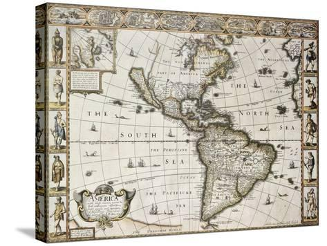 America Old Map With Greenland Insert Map. Created By John Speed. Published In London, 1627-marzolino-Stretched Canvas Print