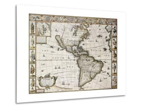 America Old Map With Greenland Insert Map. Created By John Speed. Published In London, 1627-marzolino-Metal Print
