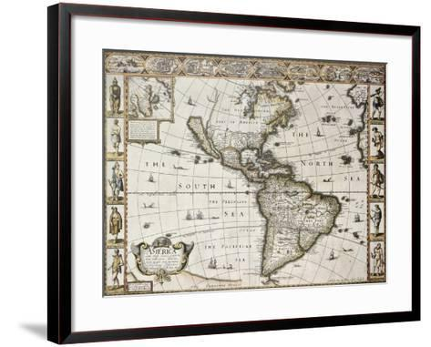 America Old Map With Greenland Insert Map. Created By John Speed. Published In London, 1627-marzolino-Framed Art Print
