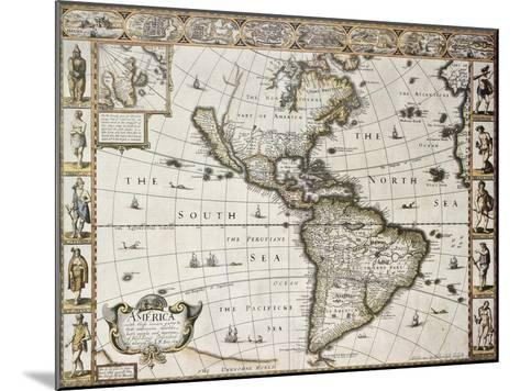 America Old Map With Greenland Insert Map. Created By John Speed. Published In London, 1627-marzolino-Mounted Art Print