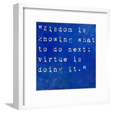Inspirational Quote By David Star Jordan On Earthy Blue Background-nagib-Framed Art Print