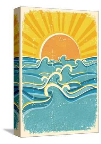 Sea Waves And Yellow Sun On Old Paper Texture.Vintage Illustration-GeraKTV-Stretched Canvas Print