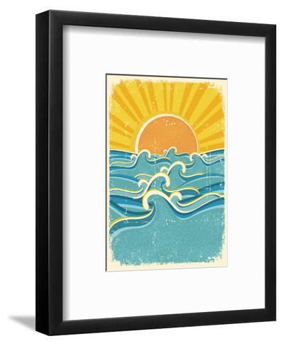 Sea Waves And Yellow Sun On Old Paper Texture.Vintage Illustration-GeraKTV-Framed Art Print