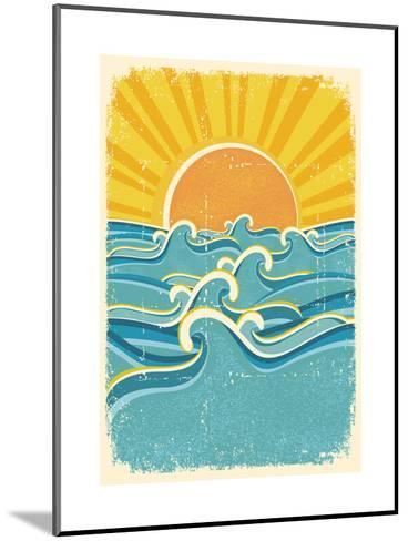 Sea Waves And Yellow Sun On Old Paper Texture.Vintage Illustration-GeraKTV-Mounted Art Print