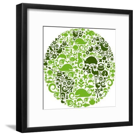 Green Globe Outline Made From Birds, Animals And Flowers Icons-Marish-Framed Art Print