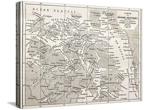 Old Map Of Arctic Region Of Sir John Franklin Northwest Passage Exploration-marzolino-Stretched Canvas Print