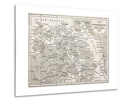 Old Map Of Arctic Region Of Sir John Franklin Northwest Passage Exploration-marzolino-Metal Print