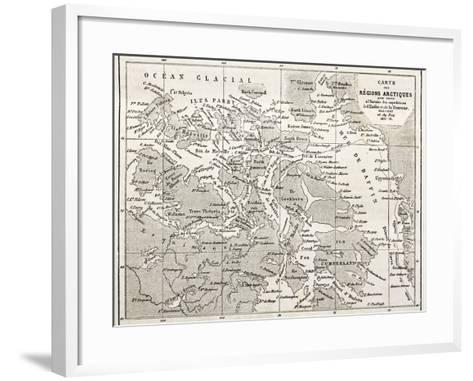 Old Map Of Arctic Region Of Sir John Franklin Northwest Passage Exploration-marzolino-Framed Art Print