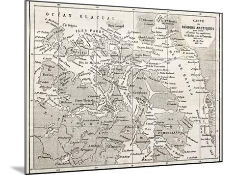Old Map Of Arctic Region Of Sir John Franklin Northwest Passage Exploration-marzolino-Mounted Art Print