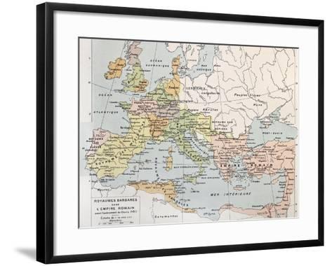 Old Map Of Barbarian Kingdoms Before Clovis I-marzolino-Framed Art Print