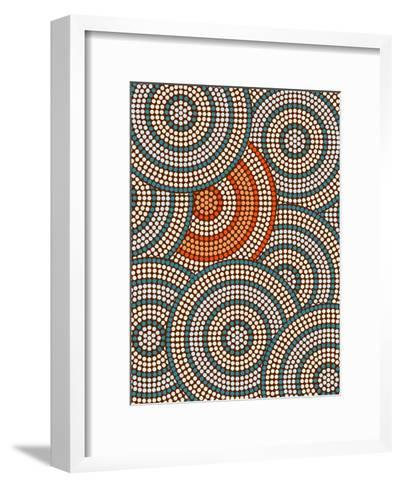 A Illustration Based On Aboriginal Style Of Dot Painting Depicting Circle Background-deboracilli-Framed Art Print