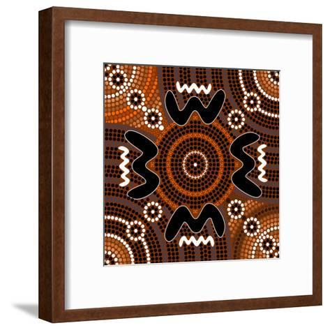 A Illustration Based On Aboriginal Style Of Dot Painting Depicting Difference-deboracilli-Framed Art Print