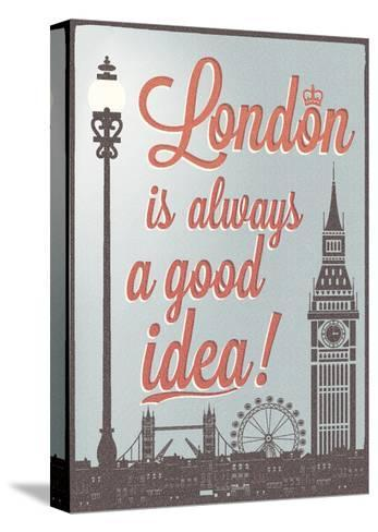 Typographical Retro Style Poster With London Symbols And Landmarks-Melindula-Stretched Canvas Print
