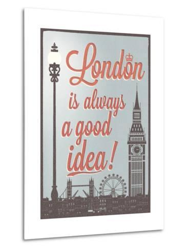 Typographical Retro Style Poster With London Symbols And Landmarks-Melindula-Metal Print