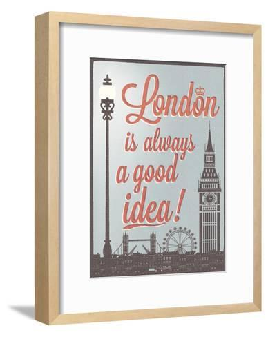 Typographical Retro Style Poster With London Symbols And Landmarks-Melindula-Framed Art Print