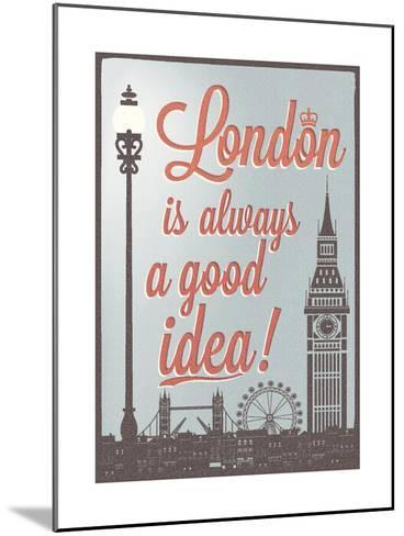 Typographical Retro Style Poster With London Symbols And Landmarks-Melindula-Mounted Art Print