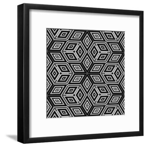 Black And White 3D Cubes Illustration - Escher Style-Kamira-Framed Art Print