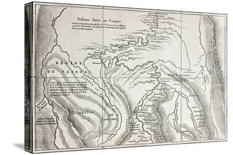 Old Map Of Campa Indians (Ashaninka) Territory, Peru-marzolino-Stretched Canvas Print