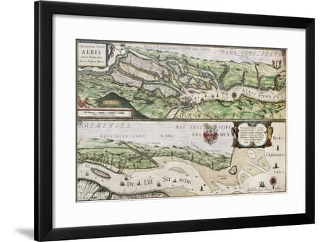 Old Map Of Elbe River And Hamburg Port From The Atlas Appendix-marzolino-Framed Art Print