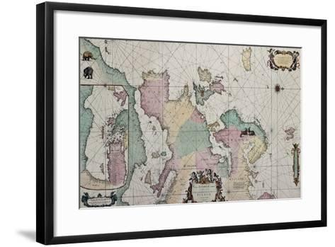 Old Map Of Europe With Eastern Mediterranean Insert Map-marzolino-Framed Art Print