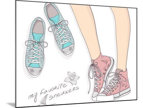 Shoes With Floral Pattern-cherry blossom girl-Mounted Art Print