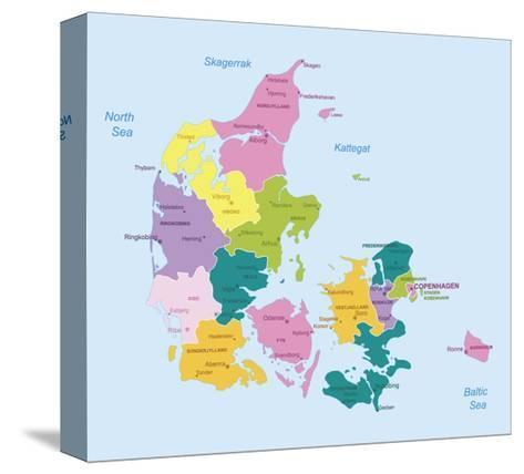 Denmark-Highly Detailed Map-ekler-Stretched Canvas Print
