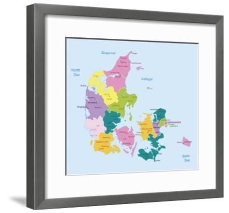 Denmark-Highly Detailed Map-ekler-Framed Art Print